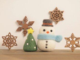雪だるま&ミニツリーの画像