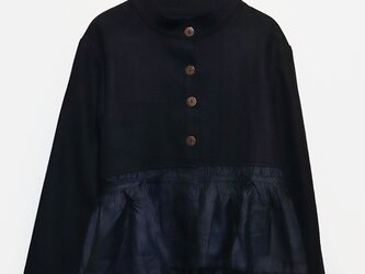 カシミール手織りウールギャザージャケット Blackの画像