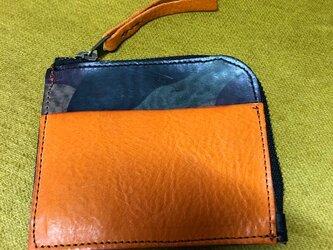 コンパクトなL字型ファスナー財布・迷彩柄・キャメルの画像
