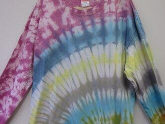 タイダイ染め 虹のようなカラフルロングTシャツ2018⑤の画像