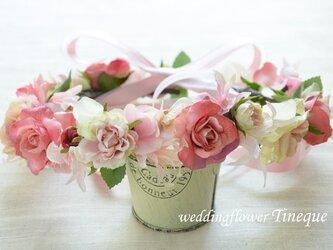 ピンクローズたっぷり乙女花冠の画像