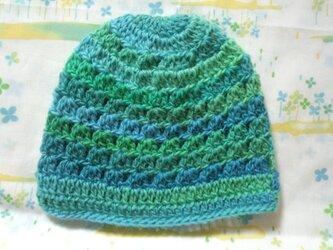 ☆手縫い屋☆ウール100%編み編み帽子☆シェル編み模様☆49㎝~☆草原色グラデ☆優しくフィット☆ギフトの画像