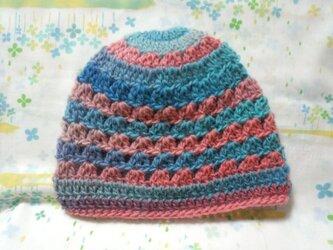 ☆手縫い屋☆ウール100%編み編み帽子☆シェル編み模様☆51㎝~☆海辺の夕暮グラデーション☆優しくフィット☆ギフトの画像