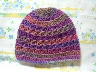☆手縫い屋☆ウール100%編み編み帽子☆シェル編み模様☆49㎝~☆夕暮色グラデーション☆優しくフィット☆ギフトの画像