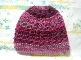 ☆手縫い屋☆ウール100%編み編み帽子☆シェル編み模様☆47㎝~☆オールドローズ色グラデ☆優しくフィット☆ギフトの画像
