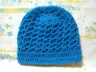 ☆手縫い屋☆ウール100%編み編み帽子☆シェル編み模様☆47㎝~☆青空色☆優しくフィット☆ギフトの画像