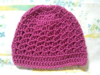 ☆手縫い屋☆ウール100%編み編み帽子☆シェル編み模様☆47㎝~☆ワイン色☆優しくフィット☆ギフトの画像