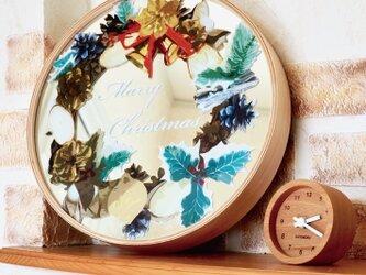 KATOMOKU plywood mirror クリスマスリースミラーの画像