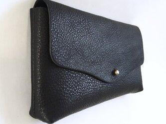 牛シュリンクレザーと牛床ベロアのシンプル長財布[ブラック]の画像