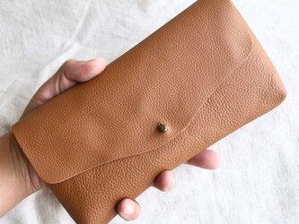 牛シュリンクレザーと牛スエードのシンプル長財布[ブラウン]の画像