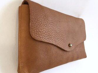 牛シュリンクレザーと牛床ベロアのシンプル長財布[ブラウン]の画像
