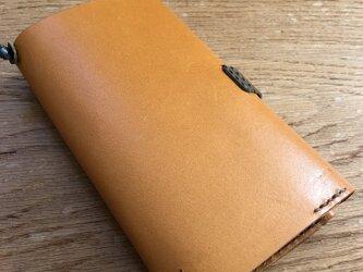 【チャイ様ご注文のお品】栃木レザー 手縫いのブックカバー (イエロー)の画像
