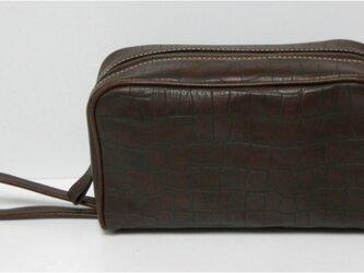 手縫 クロコ型押しのトラベルバッグの画像