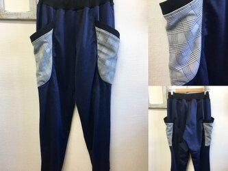 男女兼用❤️チェック柄ポケットのスウェットパンツ ネイビー(男女フリー メンズ L、レディースLL)の画像