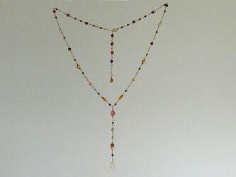 プレシャスオパールのY字型ネックレス 暖色系の画像