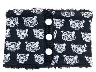 とら虎トラさん柄(ブラック)+ふわふわプードルファーのネックウォーマーの画像