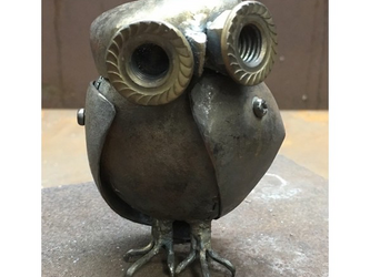 ●鉄でできたぬいぐるみ テツグルミ 「 鉄フクロウ 」の画像