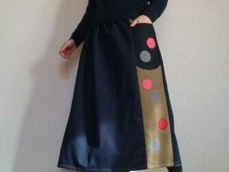 デニムロングスカート大きな丸底ポケット付きウエストゴムの画像