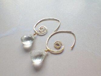*14kgf* Swirl Hoop Earrings グリーンアメジストの画像