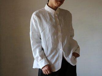 リネンドロップシャツ:白の画像