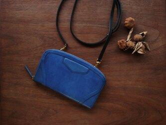 イタリアンレザー ショルダーベルト付 クラッチパース BLUE《送料無料》の画像