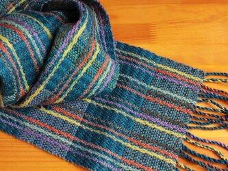 手織のマフラー 濃縹(こきはなだ)の画像