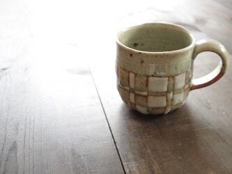 釉彩マグカップ・大(四角模様)の画像