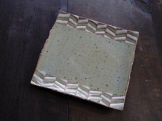 釉彩角皿(ヘリンボーン模様)の画像