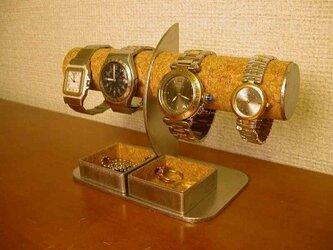プレゼントに!腕時計4本掛け角トレイ付きハーフムーン腕時計スタンド AKデザインの画像
