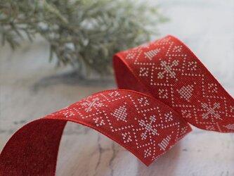 ノルディック柄のリボン|レッド ワイヤー入り 44mm幅 クリスマスの画像