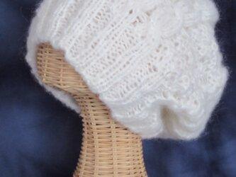 クッタリでふ~んわりなニット帽(アラン模様)の画像
