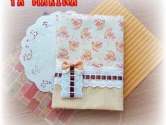 ブローチ付きブックカバー 花柄×イエローの画像