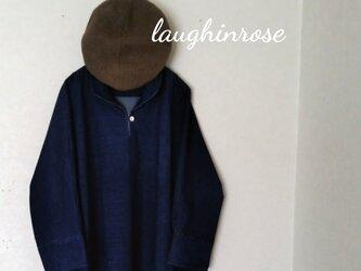 ドルマンスリーブシャツ*チュニック(ネイビーコーデュロイ)の画像