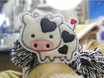 もこもこハートの牛さん★あいろんワッペン★1枚-10の画像