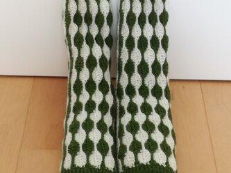 ボーダーのルームソックス(緑×白)の画像
