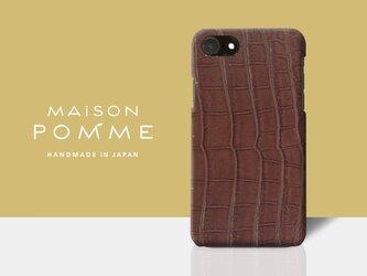 希少スモールクロコ iPhone 7/8 用 ケース【ブラウン】 革の宝石「クロコダイル」の画像