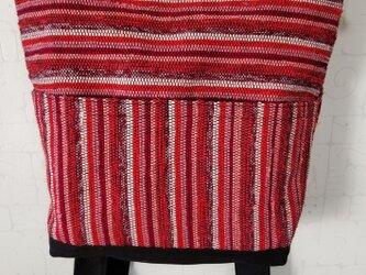 赤系ストライプ裂き織りトート型リュックの画像