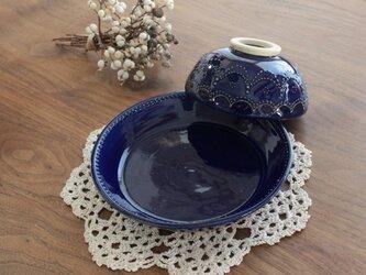 お茶碗 レース ブルーの画像