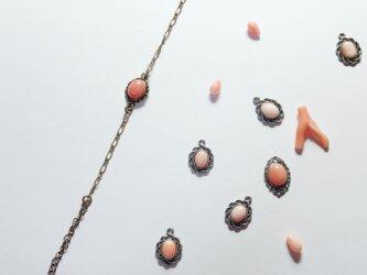 アンティーク風♡天然珊瑚のマーメイドブレスレットの画像