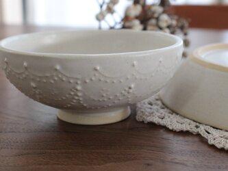 お茶碗 レース 白マットの画像