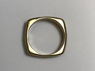 丸い四角いリング シルバーの画像