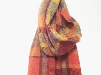 手織りのマフラー ラムウール オレンジチェックの画像