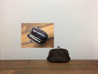 上質牛革 minimini親子がま口財布★アーチ型 焦げ茶の画像