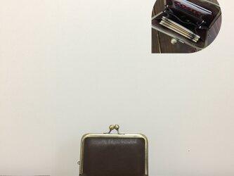 上質牛革  仕切り miniがま口財布◆お札2つ折りタイプ 焦げ茶の画像