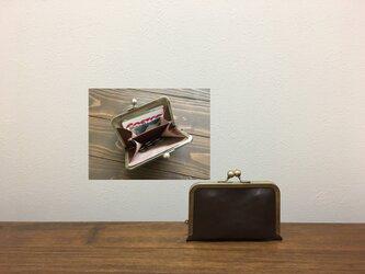 上質牛革  仕切り miniがま口財布◆仕切り1枚焦げ茶の画像