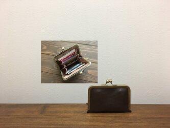 上質牛革  仕切り miniがま口財布◆仕切り2枚焦げ茶の画像
