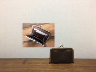 上質牛革 シンプル miniがま口財布◆焦げ茶の画像