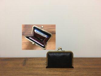 上質牛革 シンプル miniがま口財布◆黒の画像
