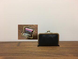 上質牛革  仕切り miniがま口財布◆仕切り2枚黒の画像