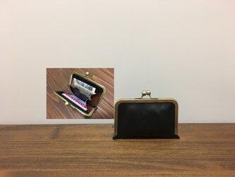 上質牛革  仕切り miniがま口財布◆仕切り1枚黒の画像